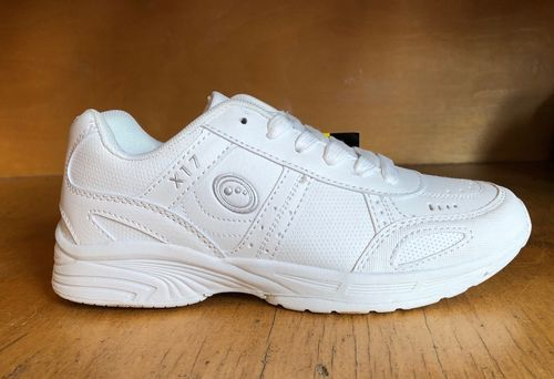 Optimum white school trainers lace up